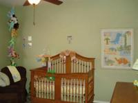 Selling convertible crib, changing table, and dresser.