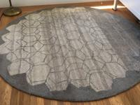 Gray ombre West Elm 100% wool rug with diamond