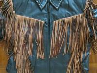 Ladies Western Brown Fringe Leather Jacket - New with