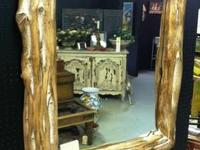 Mirror frame made of Western Cedar logs from Aledo,