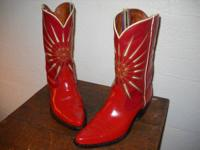 Vintage late 1950's ACME STARBURST boots in flaming