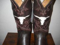 "Perfectly done ""Longhorn"" inlay cowboy boots by"