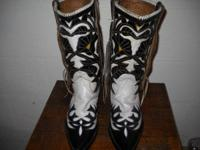Customized made black/white/yellow colour inlay boots
