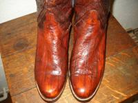 Burgundy tinted EEL SKIN completely restored Lucchese