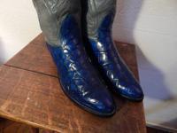 COBALT BLUE ALLIGATOR TUMMY boots by Nacona, vintage