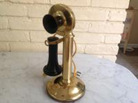 1915 polished brass Western Electric telephone. Good