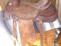 15.5 saddle,comes with back cinch and wide roping