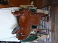 "very nice western saddle, 15""seat leather covered"