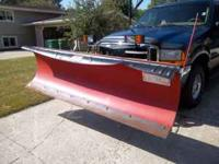 like new western brand snow plow, 8.6 ft. blade, 4
