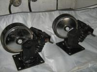"these 2 westward 6""swivel plate castors with brake and"