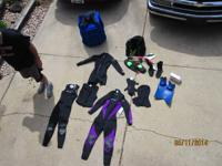 Several products of females / kids wetsuits, spring
