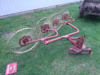 Used but in good condition 3 point hitch wheel rake.