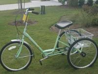 Sun 3 wheeled, 3 speed bicycle with rear basket and