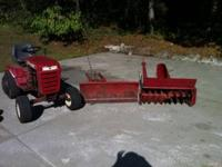 Wheelhorse tractor with snowplow, snowblower, mower