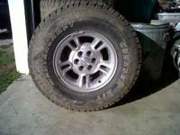 5 wheels and tires. 6 lug 15 inch rims. 31 X 10.50R15.