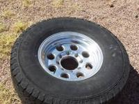 285/75/16 ALL TERRAIN TIRES, 8 INCH WIDE WHEELS, GOOD