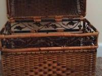 Thick, heavy duty whicker chest with wrought-iron Ivy