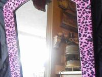 Whimsical FUN Pink & Black Faux Fur Arched Wall Mirror