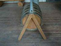 Saddle stand made out of a small whiskey barrel. I made