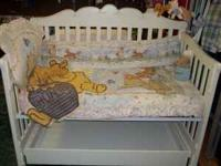 White Baby bed with matching dresser with mattress and