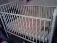 white baby crib with mattress $30 call  Location: