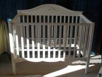 White Baby Crib for sale. Asking $75. Call Randy at  or