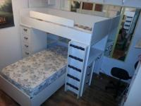 Very nice bunk beds! There is a chest of clothing