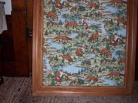 large framed printed vintage material on wood frame has