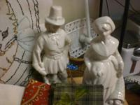 White Ceramic Pilgrim Figurine Set. Super condition!