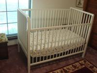 White Baby Crib with mattress. $100.00. The front rail