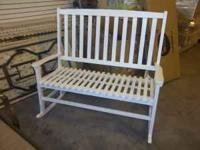 DOUBLE WHITE WOOD ROCKING CHAIR, NEWLY ASSEMBLED