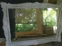 "White French country mirror. Measures 30 1/2"" T x 43"