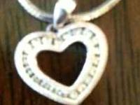 Beautiful White gold Diamond Heart necklace on a 10""