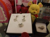 White Gold  Heart Pendant Chain, Earrings, and Ring