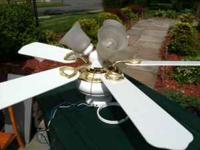 Nice Hampton Bays white ceiling fan with light brass