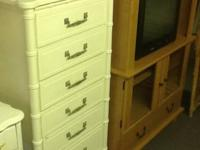 Tall and skinny with bamboo accent white chest of