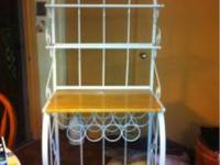 White Metal Bakers Rack w/8 Wine Bottle Holder, $50.00,