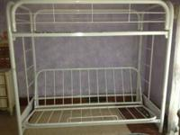This is a sturdy well maintained metal bunk bed frame.