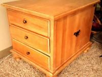 White oak side table with 3 drawers! Good condition.
