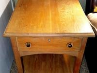 White oak side table with drawer and open shelf area