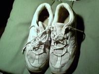 White Pair of Utilized shoelace up Zcoil Tennis Shoes