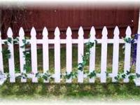 5 sections of white picket fence, each has 5 individual