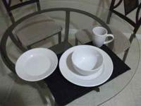 "8 11 1/4"" Dinner Plates, 8 9"" salad plates, 8 bowls,"