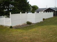 For Sale White vinyl picket fence 4' high X 130' long
