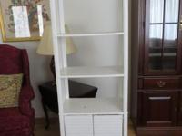 White wicker cabinet with shelving- asking $30 -Cash &