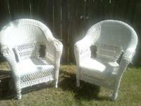 White Wicker Chairs $20 each  show contact info or