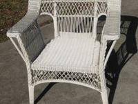 White Wicker fan style chair, 1950-60?s, Southern