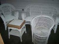 Nice set of white wicker furniture Includes: -Love