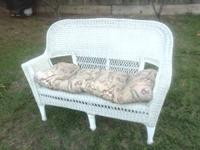 White Wicker Patio loveseat Chair asking $50 if
