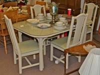 White Wicker Table w/ 4 Chairs  Prices (including